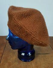 Vintage 60s 70s Artists Hat Cap Beret Paris Style Knit Crocheted Acrylic Brown