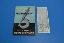 Moore and Wright - The Use and Care of Micrometers 1967 and equivalent chart