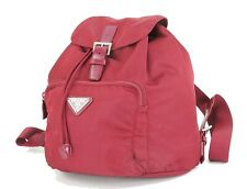 Authentic PRADA Red Nylon and Leather Backpack Bag Purse #33271