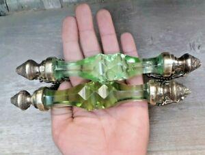 Vintage Original Victorian green Cut Glass and brass Long Door Handle set of 2