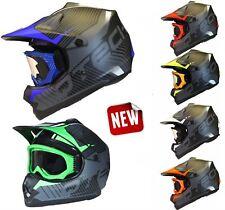 CASCO Bambini per il MOTOCROSS con Occhiali BMX ATV Nero Opaco Moto Cross