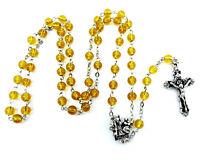 Notre Dame de Paris Rosary Amber-Colored Glass Beads Fleur de Lys Cross