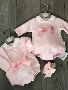 NEW IN GIRLS BABY PINK ROMPERS JAM PANT/TOP SPANISH INSPIRED BIG BOWS NEWBORN-6M
