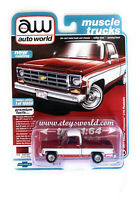AUTO WORLD 1/64 1977 RED/WHITE CHEVY BONANZA C10 FLEETSIDE PICKUP TRUCK AWSP038B