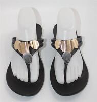 Oka-B Women's Black Gold Rubber Thong Flip Flop Sandals Size ML (8.5-9.5) Shoes