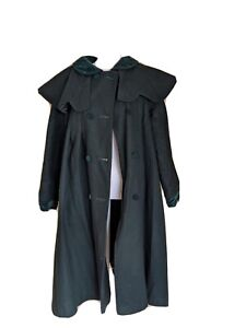 Vintage Fashion Rite 70s Victorian Inspired Green Winter Wool Swing Coat Jacket