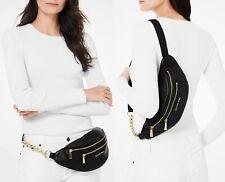 Michael Kors Bag Fanny Pack Mott Md Belt Bag Waistpack Leather Black New