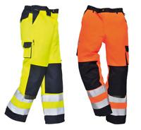 Portwest Lyon Hi Vis Viz Trousers Work Safety Pants Elastic Waist Kneepad TX51
