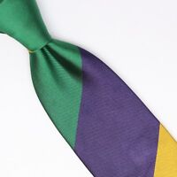 John G Hardy Mens Silk Necktie Large Scale Regimental Stripe Green Purple Yellow