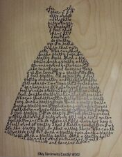 NEW MSE! My Sentiments Exactly! Mounted Wood Rubber Stamp W362 Dress Sentiment