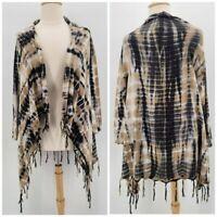 Soft Surroundings Tan Black Tie Dye Knit Cardigan Sweater Womens Petites PXL