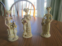 Victorian Woman Elegant Lady Figurines Vases Collectible Resin Cream Set of 3