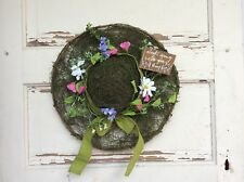 AGD Spring Decor - Spring Do Your Thing Grapevine Twig Flower Bonnet Hat Wreath