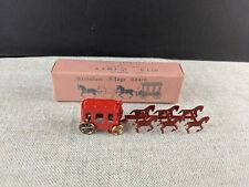 Vintage Dollhouse Toy Six Horse Old Timer Miniature Stage Coach w Moving Wheel