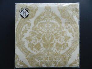 Mesafina 40ct Lunch Paper Napkins Decoupage Party Decor 3Ply Grandeur Cream Gold
