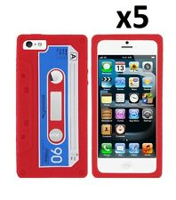 5x Red Cassette Silicone Skin Rubber Jelly Case Cover for iPhone 5 / 5S/ SE