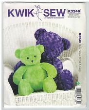 NEW! Soft Toy Teddy Bear Large & Small Kwik Sew K3246 sewing pattern