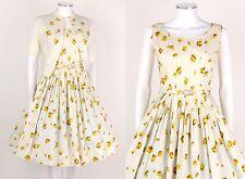 VTG 50s JERRY GILDEN WHITE FLORAL SLEEVELESS DRESS BELT SWEATER OUTFIT SET SZ 14