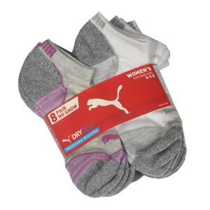 8 Pair Puma DRYCELL Ladies Moisture Wicking No Show Socks Women Size 5 to 9.5