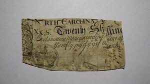 1754 Twenty Shillings North Carolina NC Colonial Currency Note Bill RARE 20s USA