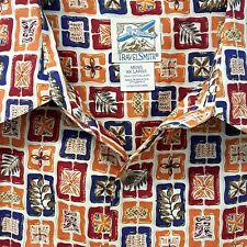 Mens Aloha Hawaiian Luau Shirt XXL Travelsmith Tapa Print Red Blue Orange Cotton