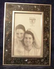 "Elsa L Decorative Wedding Picture Photo Frame 4"" X 6"" Glass Embedded Design Trim"