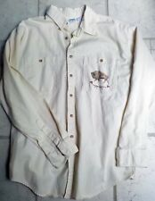 Vtg Artisans Sunschein Designs Hand Painted American Bison Work Shirt Lg Beige