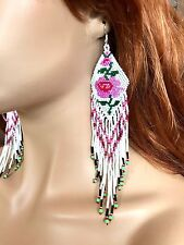 NEW WOMEN BEADED HANDMADE NATIVE INSPIRED WHITE EXTRA LONG ROSE FLOWER EARRINGS