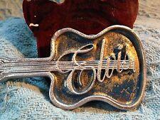 NOS VINTAGE ELVIS PRESLEY BLUE METAL WITH SILVER TRIM GUITAR BELT BUCKLE