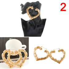 1x Fashion Large Bamboo Earrings Hip-hop Gold/silver Ladies Hoops Bling Circle 2