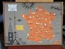 """AFFICHE SCOLAIRE (peinture) """"LES TOITS DE LA FRANCE"""" EPOQUE 20è par """"D. ROUIRE"""""""