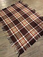 Faribo vintage wool throw blanket 40x54 fringe brown ivory red