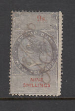New Zealand 1867 Perf 12 1/2 Stamp Duty, Barefoot 117, 9sh Purple & Red