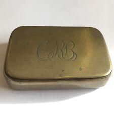 Antique Brass Snuff Box 6.5cm X 4.5cm Initiated CRB