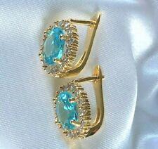 Vintage Style Gold Stud / Hoop Earrings Aquamarine & Diamante BOXED 14x11mm 9kGF
