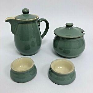 Regency Green Denby Tableware Set: Tea/Coffee Pot, Sugar Bowl/Jar, x2 Egg Cups