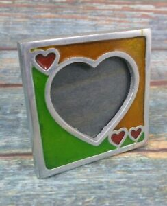 Pewter Love heart Photograph Picture Frame 9cm Square