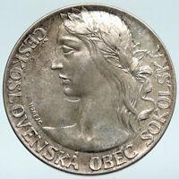 1948 CZECH REPUBLIC OLD VINTAGE Female VINTAGE Silver V PRAZE Medal Coin i89685