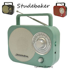 Studebaker SB2000TE AM FM Radio Antique Retro Vintage Teal Aux Portable Desk New