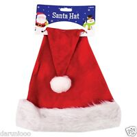 ADULT DELUXE Hat With Fur Trim CHRISTMAS XMAS PARTY SANTA FANCY DRESS COSTUME