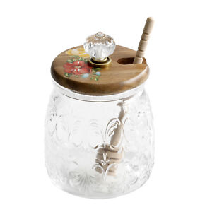 Farmhouse Retro Vintage Floral Honey Jar with Lid and Wood Dipper