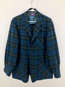 Pendleton Pure Virgin Wool Button Blazer Jacket Womens Size M Medium Blue Plaid