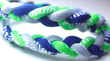 "Wholesale Lot of 12 Titanium Sport Necklaces Neon Green Navy Blue Gray 20"""