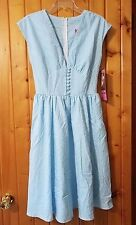 Bettie Page Blue Gingham Dress Size 6 Modcloth Cookout Here I Come NWT Pinup