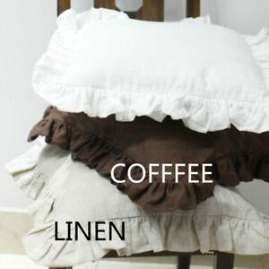 Throw Pillow Cover Cushion Case Linen Natural Ruffle Sofa Chair Bed Home Fashion
