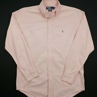 Polo Ralph Lauren Mens Vintage Shirt OXford 15 LARGE Pink Classic Fit OVERSIZED