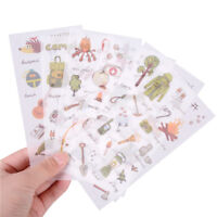 6PCS Camping Outfit Adhesive Stickers Scrapbooking DIY Decoration Diary PP