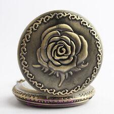 Retro Bronze Tone Quartz Pocket Watch Necklace Chain Rose Flower Pendant Gift