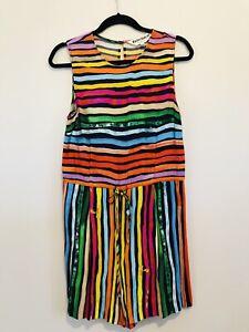 Gorman x Kindah Khalidy Silk romper dress playsuit rainbow print colourful sz 10