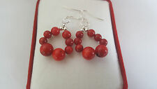 925 sterling silver hook Gift Box Stunning Red Salmon Coral Round Beads Earrings